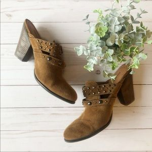 Nicole Tan Brown suede heeled studded buckle mules